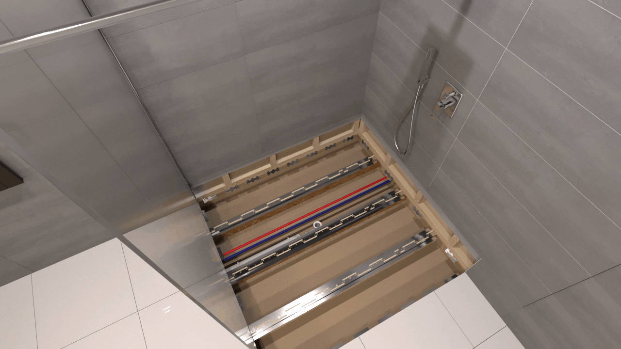 Render of a brackets for a point drain shower