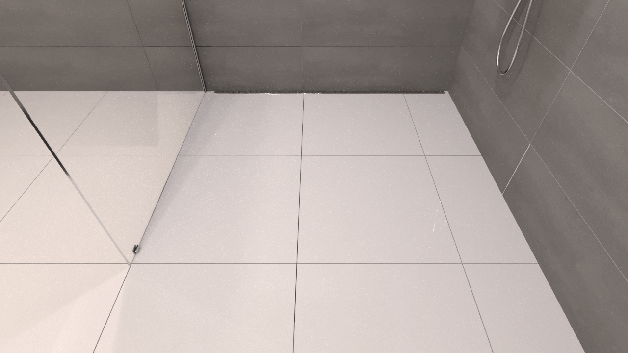 Render of a finished linear back drain shower