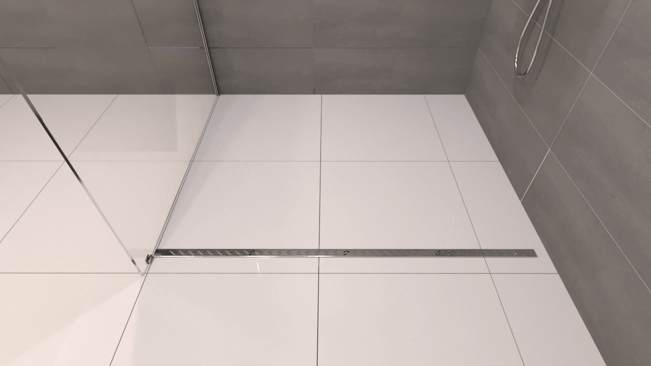 Finished linear drain at the front of the shower